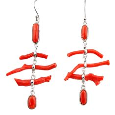20.40cts natural red coral 925 sterling silver dangle earrings jewelry r33227