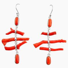 23.39cts natural red coral 925 sterling silver dangle earrings jewelry r33231