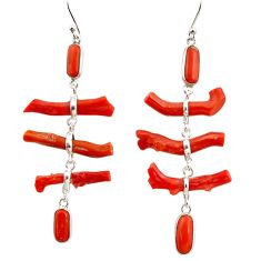 22.14cts natural red coral 925 sterling silver dangle earrings jewelry r33232