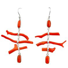 20.34cts natural red coral 925 sterling silver dangle earrings jewelry r33233