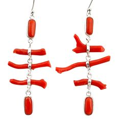 18.39cts natural red coral 925 sterling silver dangle earrings jewelry r33236