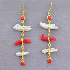 9.74cts natural red coral pearl 14k gold handmade dangle earrings t10921