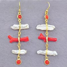12.52cts natural red coral pearl 14k gold handmade dangle earrings t10922
