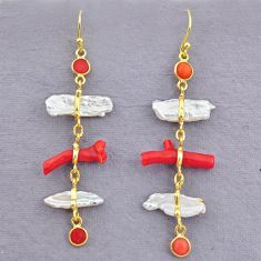 12.57cts natural red coral pearl 14k gold handmade dangle earrings t10923