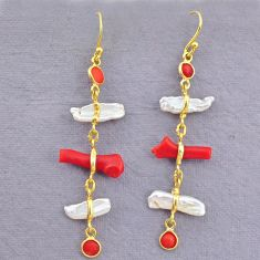 10.33cts natural red coral pearl 14k gold handmade dangle earrings t10925