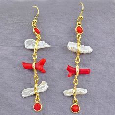 10.33cts natural red coral pearl 14k gold handmade dangle earrings t10928