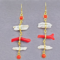 13.13cts natural red coral pearl 14k gold handmade dangle earrings t10929
