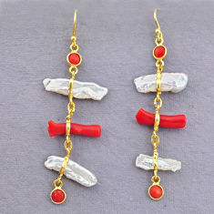 11.93cts natural red coral pearl 14k gold handmade dangle earrings t10931