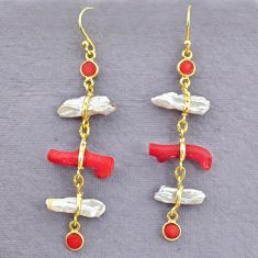 10.89cts natural red coral pearl 14k gold handmade dangle earrings t10933