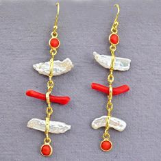 10.33cts natural red coral pearl 14k gold handmade dangle earrings t10934