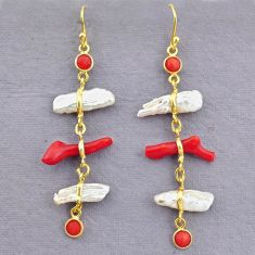 11.28cts natural red coral pearl 14k gold handmade dangle earrings t10937