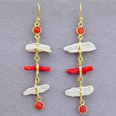 10.89cts natural red coral pearl 14k gold handmade dangle earrings t10939