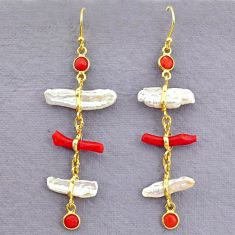 10.61cts natural red coral pearl 14k gold handmade dangle earrings t10940