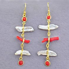 10.89cts natural red coral pearl 14k gold handmade dangle earrings t10941