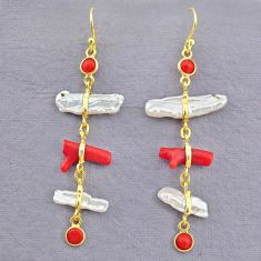 11.28cts natural red coral pearl 14k gold handmade dangle earrings t10942