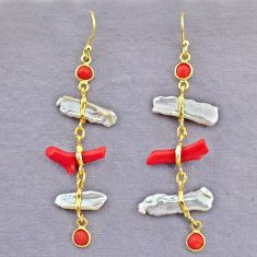 11.42cts natural red coral pearl 14k gold handmade dangle earrings t10943