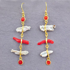9.13cts natural red coral pearl 14k gold handmade dangle earrings t10947