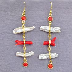 11.28cts natural red coral pearl 14k gold handmade dangle earrings t10948
