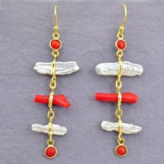 10.72cts natural red coral pearl 14k gold handmade dangle earrings t10950