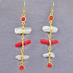 11.37cts natural red coral pearl 14k gold handmade dangle earrings t10951
