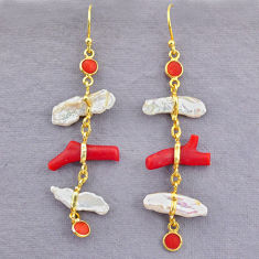 12.49cts natural red coral pearl 14k gold handmade dangle earrings t10952