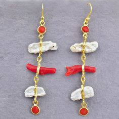 12.96cts natural red coral pearl 14k gold handmade dangle earrings t10955