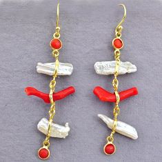 11.96cts natural red coral pearl 14k gold handmade dangle earrings t10956
