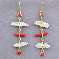 10.89cts natural red coral pearl 14k gold handmade dangle earrings t10958