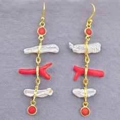 10.67cts natural red coral pearl 14k gold handmade dangle earrings t10959