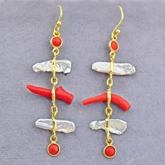 11.37cts natural red coral white pearl 925 silver 14k gold earrings t10932