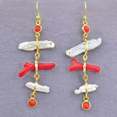 11.96cts natural red coral white pearl 925 silver 14k gold earrings t10946