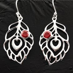 1.92cts natural red garnet 925 silver dangle feather charm earrings d40002