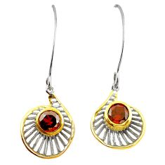 Natural red garnet 925 sterling silver 14k gold earrings jewelry c23944