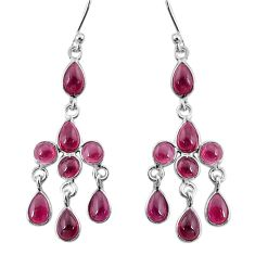 9.16cts natural red garnet 925 sterling silver chandelier earrings jewelry t4661