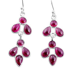 7.97cts natural red garnet 925 sterling silver chandelier earrings jewelry t4681