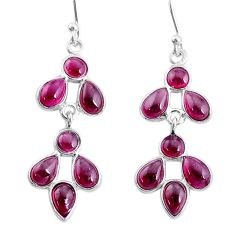 7.11cts natural red garnet 925 sterling silver chandelier earrings jewelry t4682