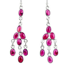 15.93cts natural red garnet 925 sterling silver chandelier earrings r33451