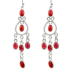 12.52cts natural red garnet 925 sterling silver chandelier earrings r33588