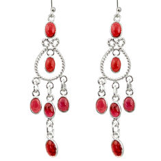 12.06cts natural red garnet 925 sterling silver chandelier earrings r33589