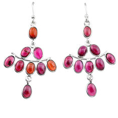 15.34cts natural red garnet 925 sterling silver chandelier earrings t1821