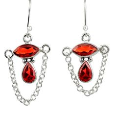 7.50cts natural red garnet 925 sterling silver dangle earrings jewelry d39901