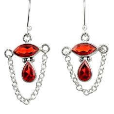 Clearance Sale- 7.50cts natural red garnet 925 sterling silver dangle earrings jewelry d39903
