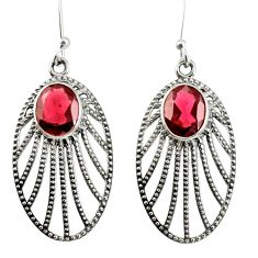 Clearance Sale- 6.33cts natural red garnet 925 sterling silver dangle earrings jewelry d40083