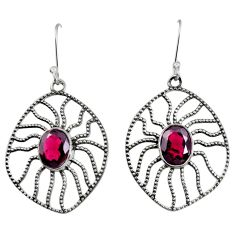 Clearance Sale- 6.26cts natural red garnet 925 sterling silver dangle earrings jewelry d40108