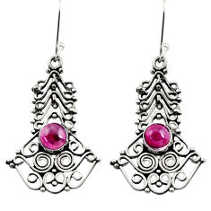 Clearance Sale- 2.63cts natural red garnet 925 sterling silver dangle earrings jewelry d41142