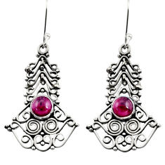 Clearance Sale- 2.85cts natural red garnet 925 sterling silver dangle earrings jewelry d41145