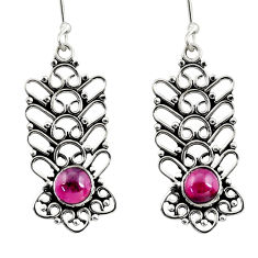 Clearance Sale- 2.52cts natural red garnet 925 sterling silver dangle earrings jewelry d41146