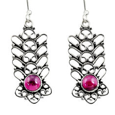 Clearance Sale- 2.52cts natural red garnet 925 sterling silver dangle earrings jewelry d41149
