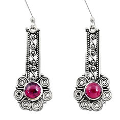 Clearance Sale- 2.84cts natural red garnet 925 sterling silver dangle earrings jewelry d41150