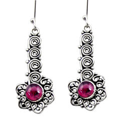 Clearance Sale- 2.47cts natural red garnet 925 sterling silver dangle earrings jewelry d41155